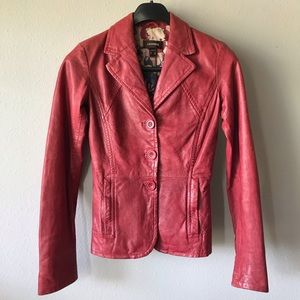 Danier Red Lather Jacket